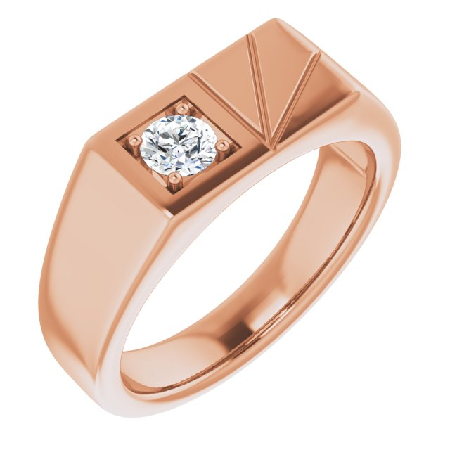 White Diamond Ring in 14 Karat Rose Gold 1/3 Carat Diamond Men's Ring