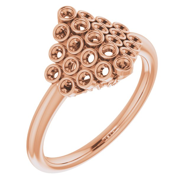 White Diamond Ring in 14 Karat Rose Gold 1/3 Carat Diamond Bezel-Set Cluster Ring