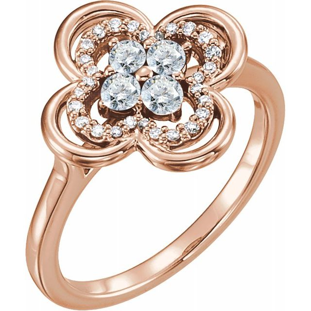 White Diamond Ring in 14 Karat Rose Gold 1/3 Carat Diamond Clover Ring