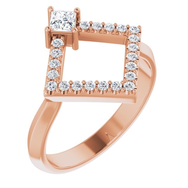 White Diamond Ring in 14 Karat Rose Gold 1/3 Carat Diamond Geometric Ring