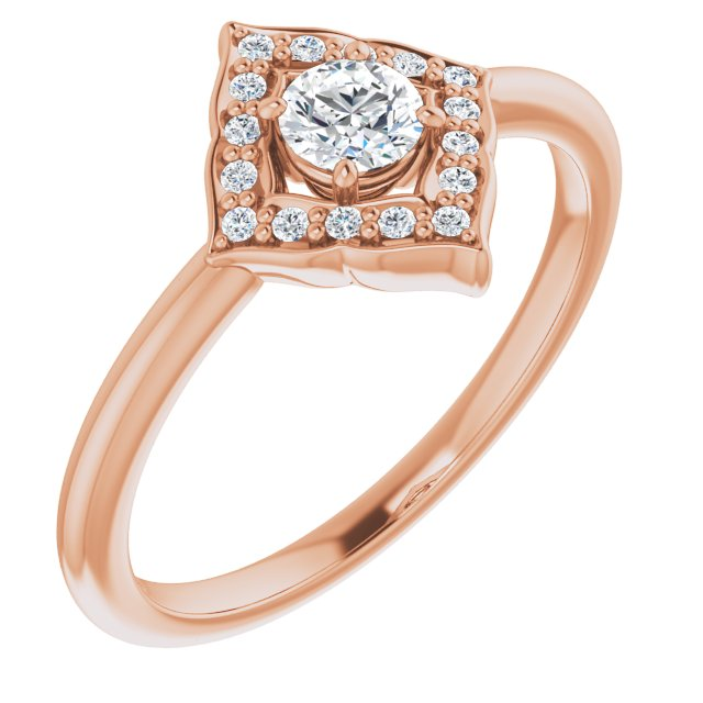 White Diamond Ring in 14 Karat Rose Gold 1/3 Carat Diamond Halo-Style Clover Ring