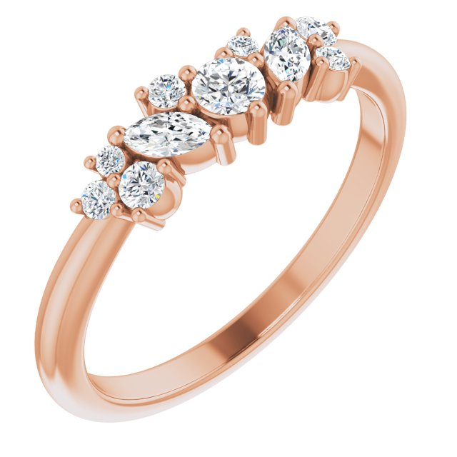 White Diamond Ring in 14 Karat Rose Gold 1/3 Carat Diamond Multi-Shape Ring