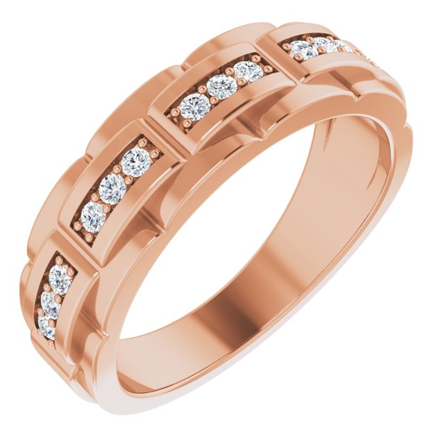 White Diamond Ring in 14 Karat Rose Gold 1/3 Carat Diamond Pattern Ring
