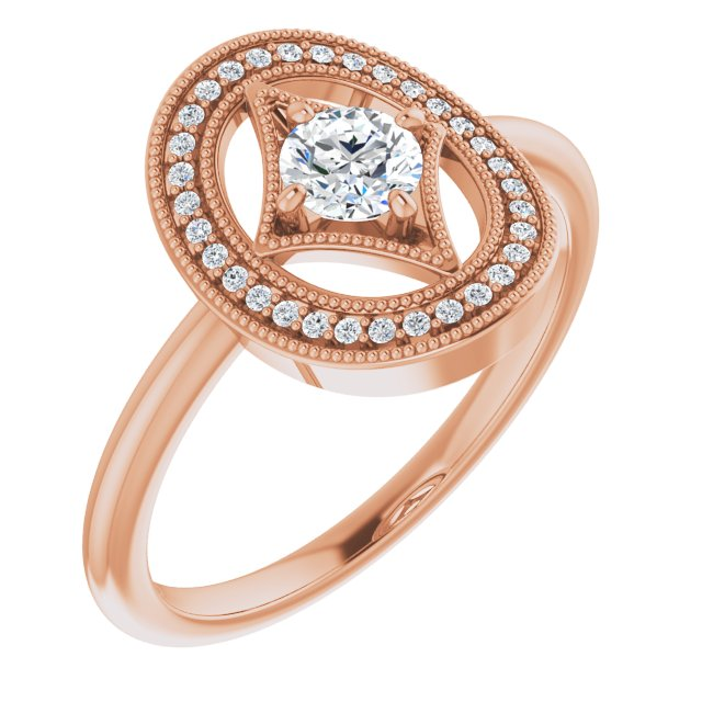 White Diamond Ring in 14 Karat Rose Gold 1/3 Carat Diamond Ring
