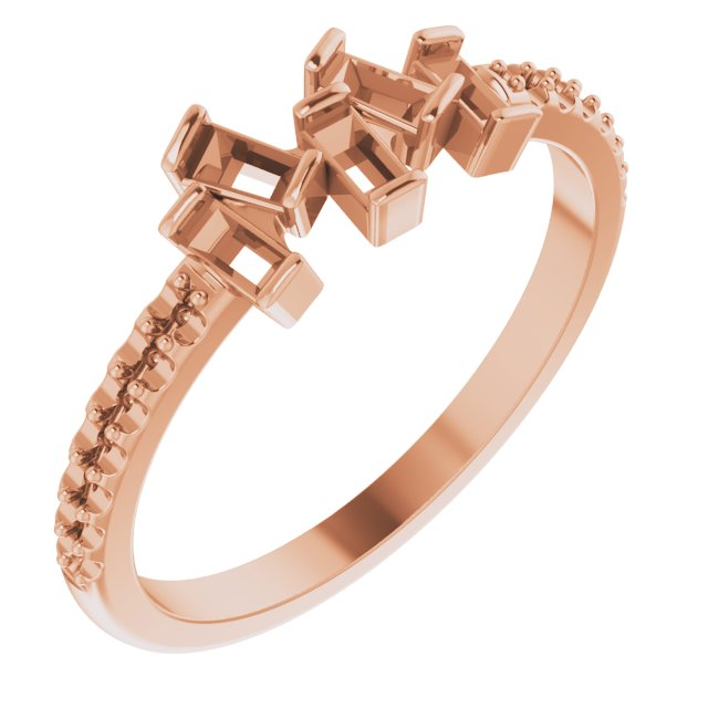 White Diamond Ring in 14 Karat Rose Gold 1/3 Carat Diamond Scattered Ring