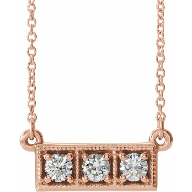 White Diamond Necklace in 14 Karat Rose Gold 1/3 Carat Diamond Three-Stone Granulated Bar 16-18