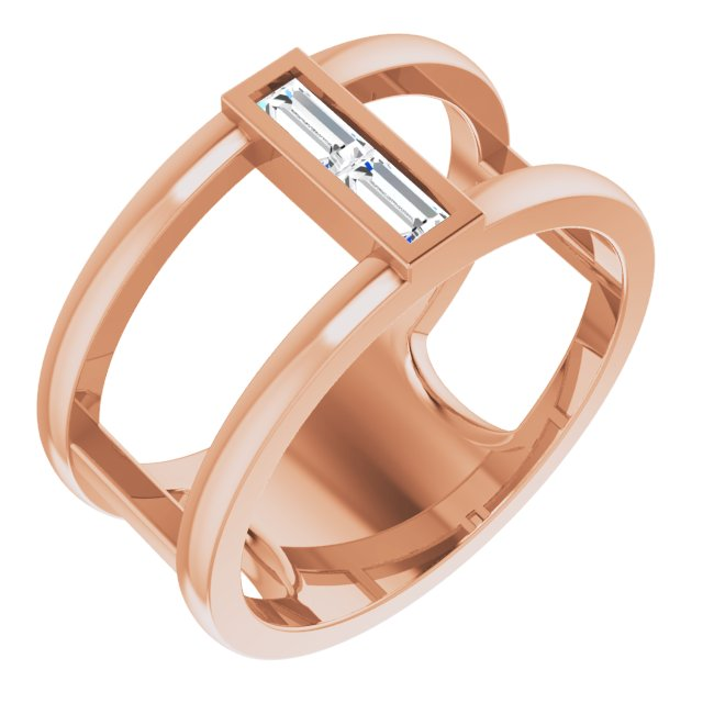 White Diamond Ring in 14 Karat Rose Gold 1/4 Carat Diamond Baguette Ring