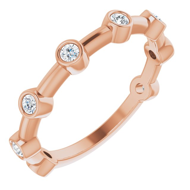 White Diamond Ring in 14 Karat Rose Gold 1/4 Carat Diamond Bezel-Set Bar Ring
