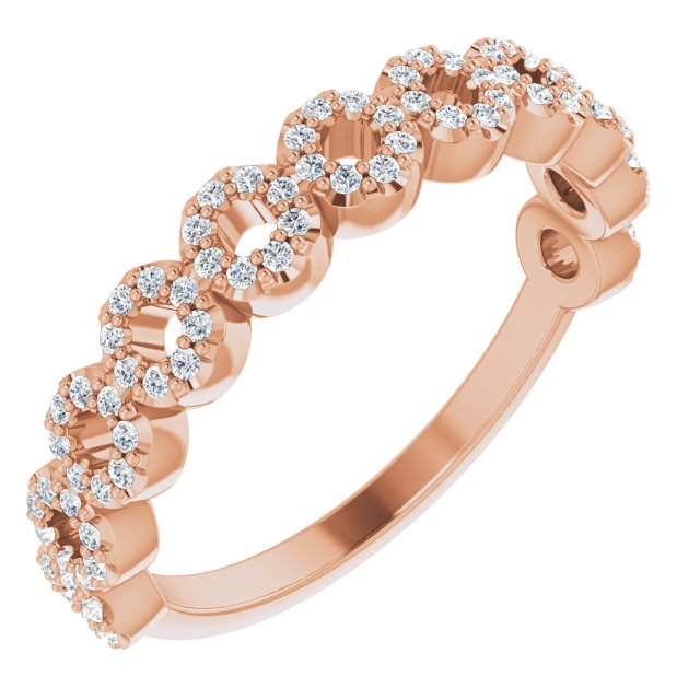 White Diamond Ring in 14 Karat Rose Gold 1/4 Carat Diamond Circle Ring