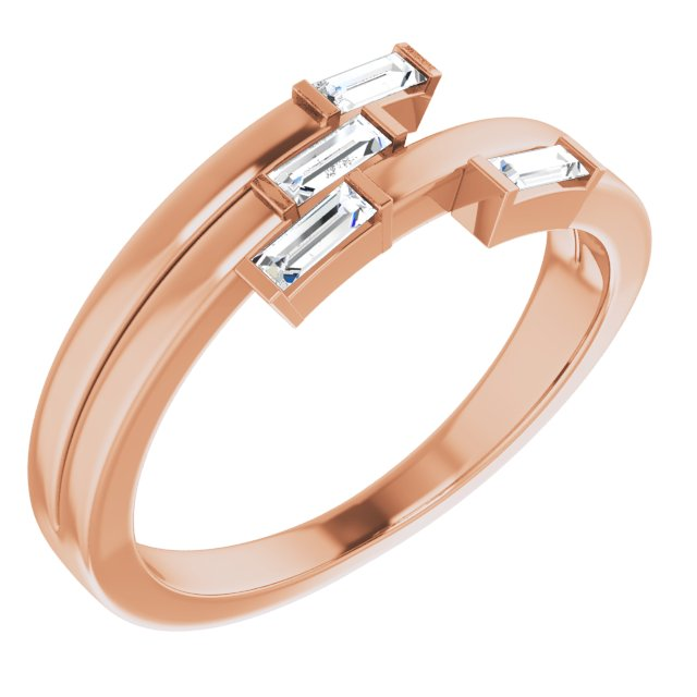 White Diamond Ring in 14 Karat Rose Gold 1/4 Carat Diamond Geometric Ring