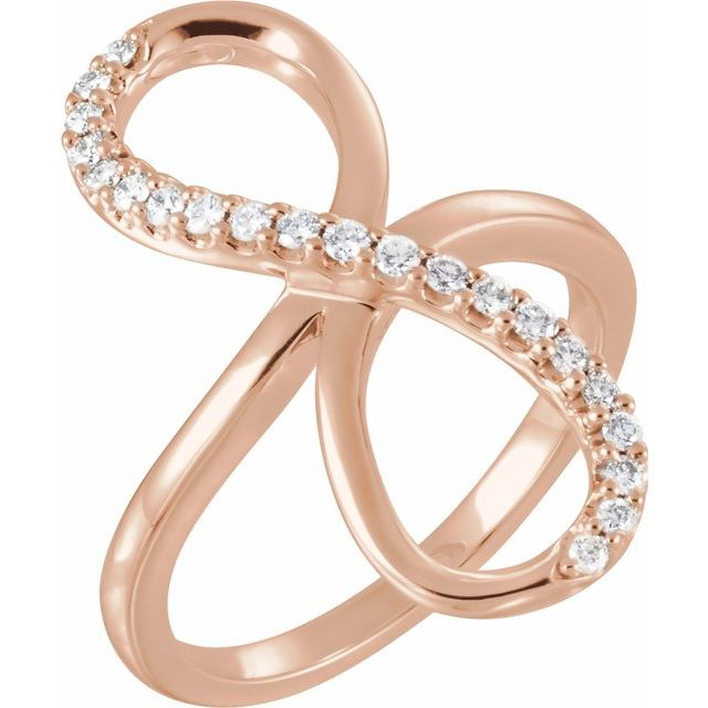 White Diamond Ring in 14 Karat Rose Gold 1/4 Carat Diamond Infinity-Inspired Ring