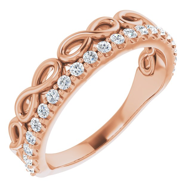 White Diamond Ring in 14 Karat Rose Gold 1/4 Carat Diamond Infinity-Inspired Stackable Ring