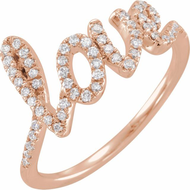 White Diamond Ring in 14 Karat Rose Gold 1/4 Carat Diamond Love Ring