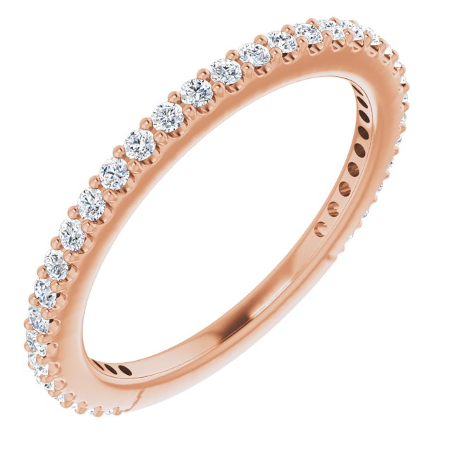 White Diamond Ring in 14 Karat Rose Gold 1/4 Carat Diamond Stackable Ring Size 8