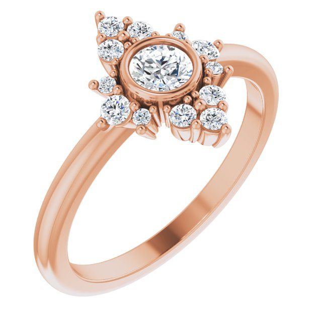 White Diamond Ring in 14 Karat Rose Gold 1/5 Carat Diamond Ring