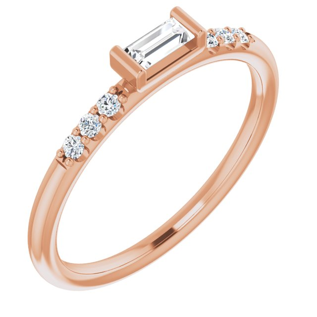 White Diamond Ring in 14 Karat Rose Gold 1/5 Carat Diamond Stackable Accented Ring