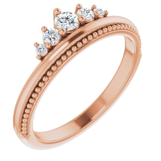 White Diamond Ring in 14 Karat Rose Gold 1/5 Carat Diamond Stackable Crown Ring