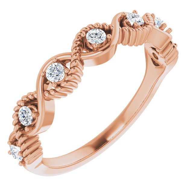 White Diamond Ring in 14 Karat Rose Gold 1/5 Carat Diamond Stackable Ring