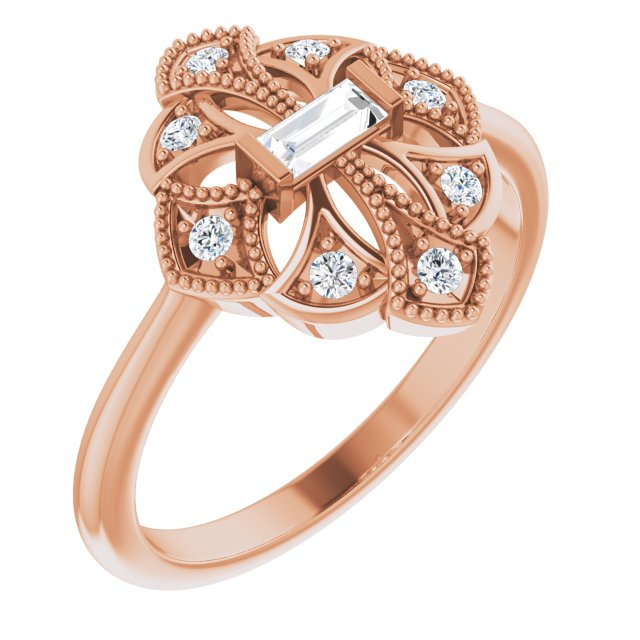 White Diamond Ring in 14 Karat Rose Gold 1/5 Carat Diamond Vintage-Inspired Ring