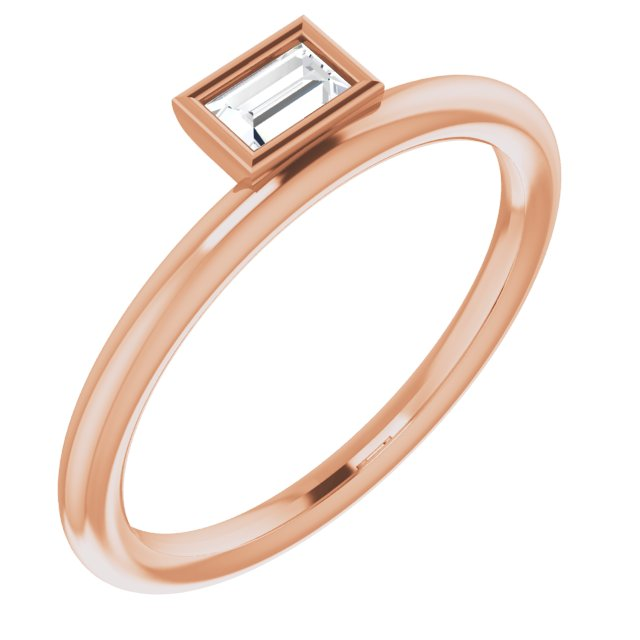 White Diamond Ring in 14 Karat Rose Gold 1/6 Carat Diamond Asymmetrical Stackable Ring