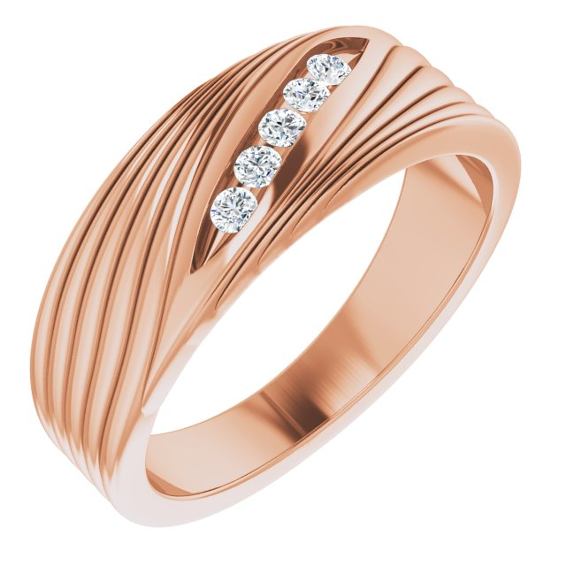 White Diamond Ring in 14 Karat Rose Gold 1/6 Carat Diamond Men's Ring