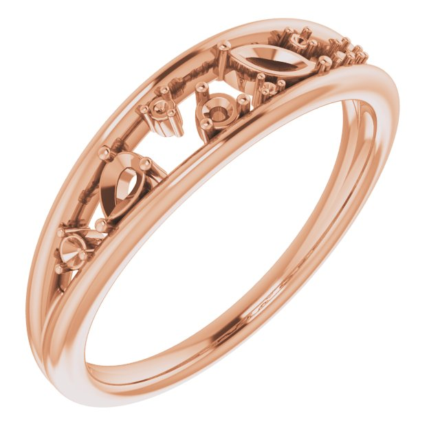 White Diamond Ring in 14 Karat Rose Gold 1/6 Carat Diamond Negative Space Ring