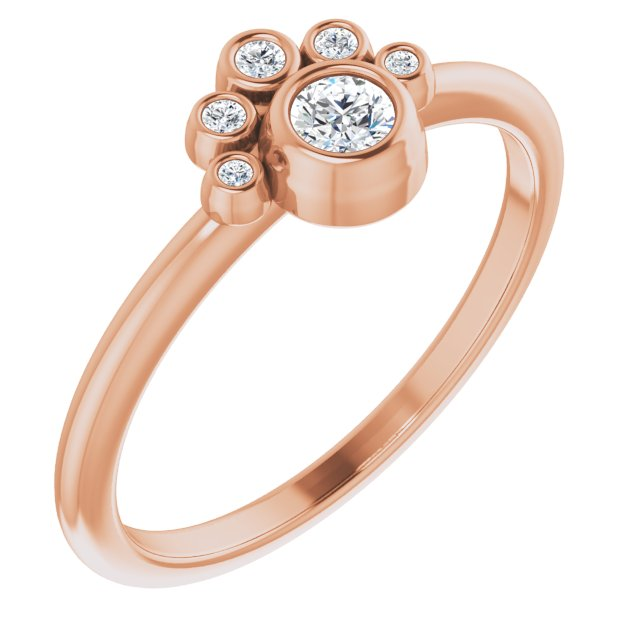 White Diamond Ring in 14 Karat Rose Gold 1/6 Carat Diamond Ring
