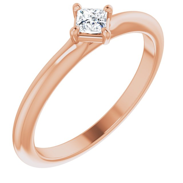 White Diamond Ring in 14 Karat Rose Gold 1/6 Carat Diamond Solitaire Ring