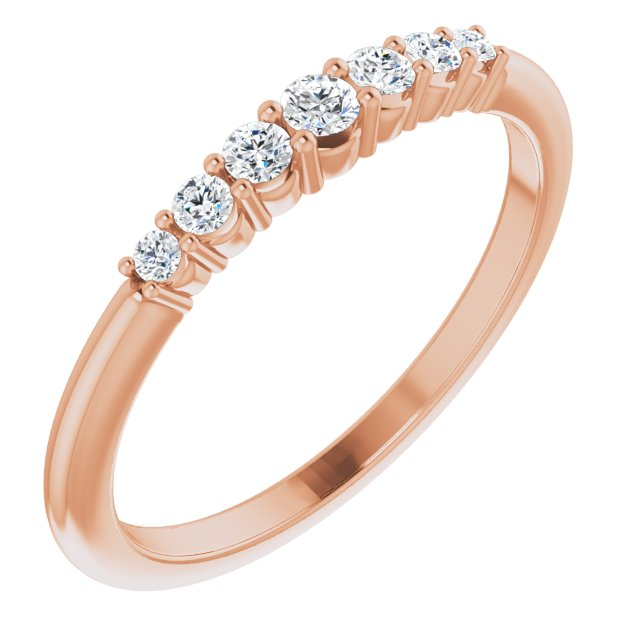White Diamond Ring in 14 Karat Rose Gold 1/6 Carat Diamond Stackable Ring