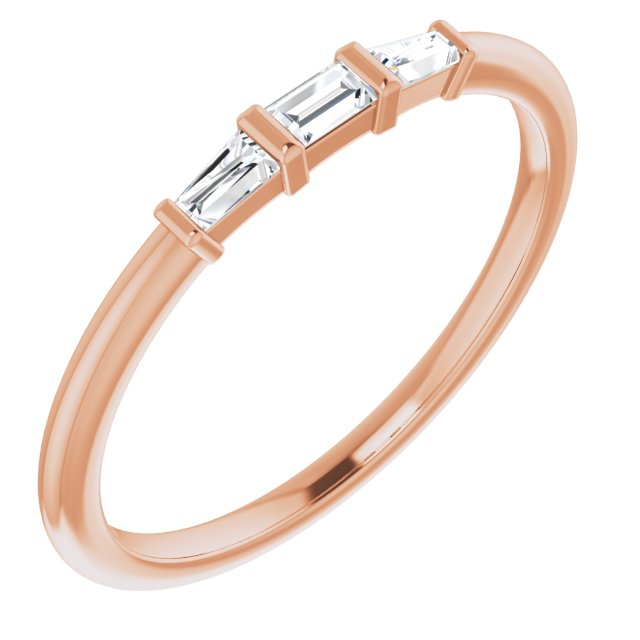White Diamond Ring in 14 Karat Rose Gold 1/6 Carat Diamond Three-Stone Stackable Ring