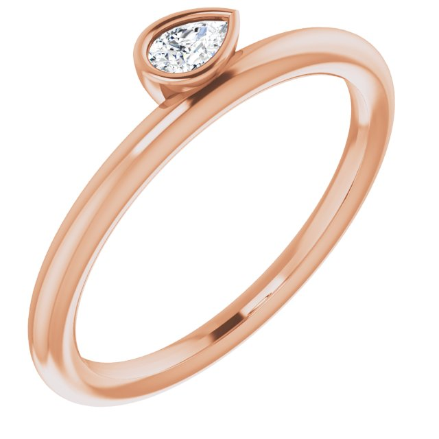 White Diamond Ring in 14 Karat Rose Gold 1/8 Carat Diamond Asymmetrical Stackable Ring