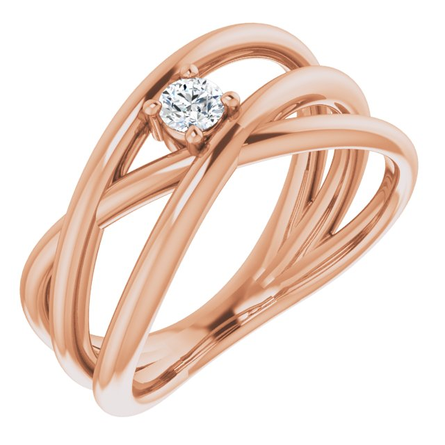 White Diamond Ring in 14 Karat Rose Gold 1/8 Carat Diamond Negative Space Ring