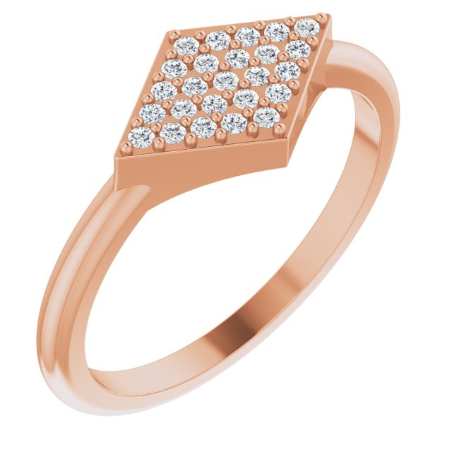 White Diamond Ring in 14 Karat Rose Gold 1/8 Carat Diamond Geometric Ring