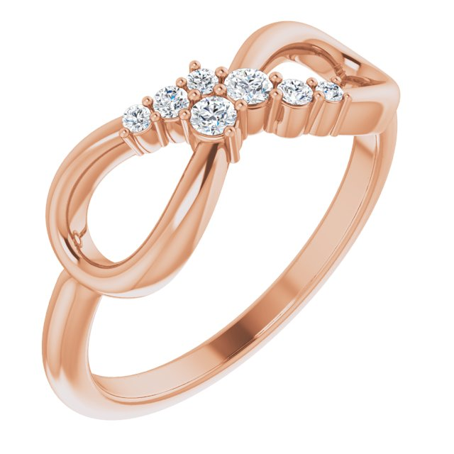 White Diamond Ring in 14 Karat Rose Gold 1/8 Carat Diamond Infinity-Inspired Ring