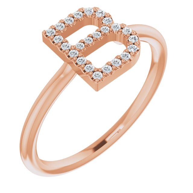 White Diamond Ring in 14 Karat Rose Gold 1/8 Carat Diamond Initial B Ring