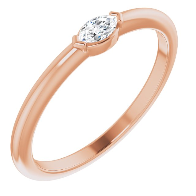 White Diamond Ring in 14 Karat Rose Gold 1/8 Carat Diamond Solitaire Ring