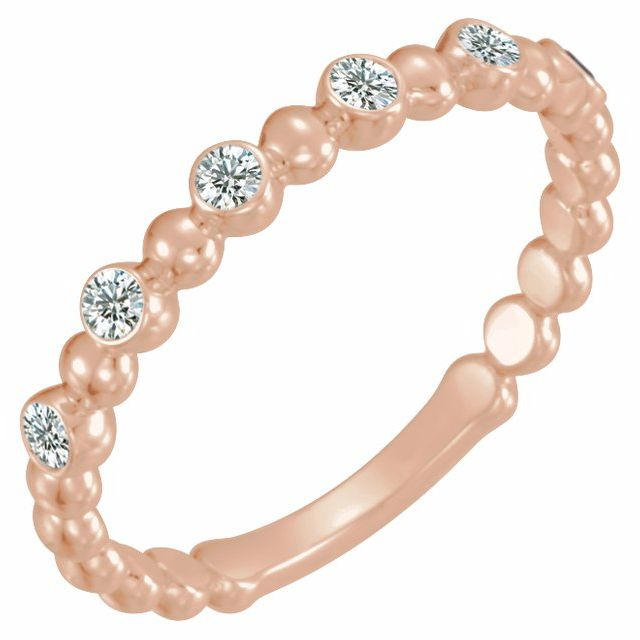 White Diamond Ring in 14 Karat Rose Gold 1/8 Carat Diamond Stackable Ring