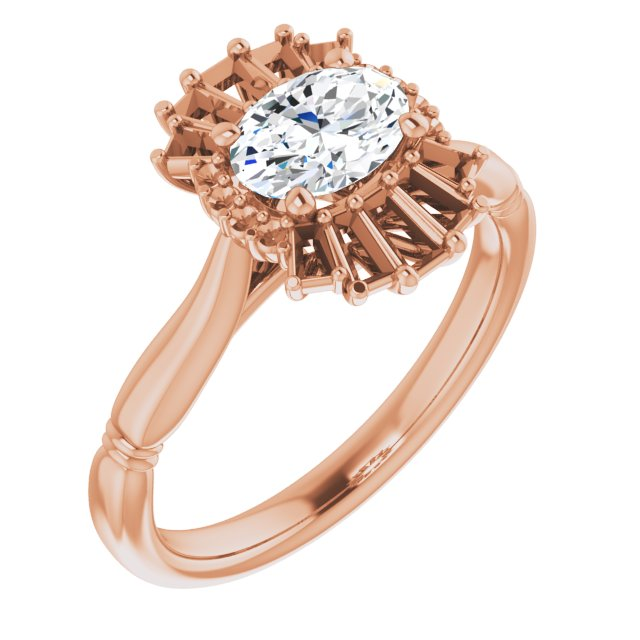 White Diamond Ring in 14 Karat Rose Gold 1 Carat Diamond Halo-Style Ring
