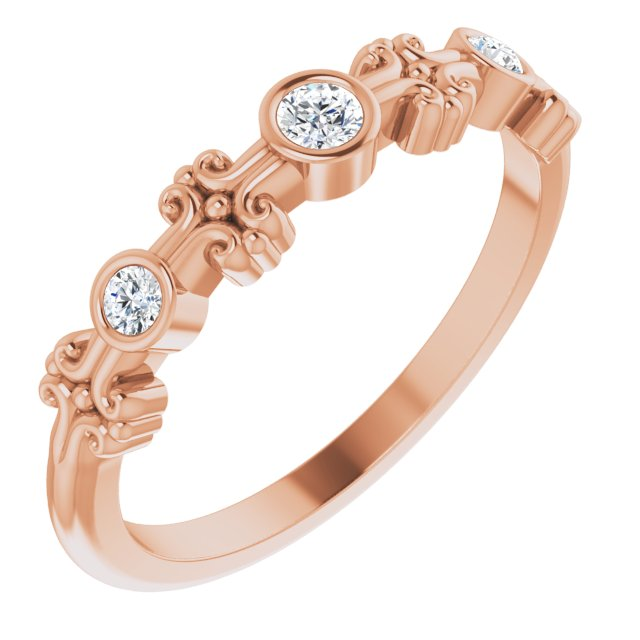 White Diamond Ring in 14 Karat Rose Gold .10 Carat Diamond Bezel-Set Ring