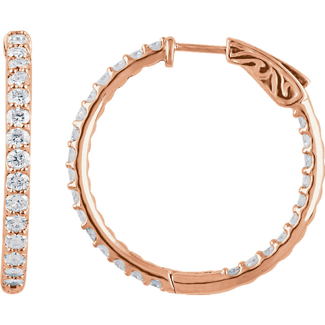 Surprise Her with  14 Karat Rose Gold 2 Carat Total Weight Diamond Inside/Outside Hoop Earrings