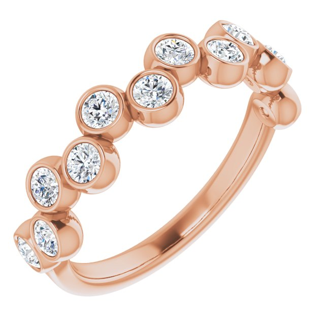 White Diamond Ring in 14 Karat Rose Gold 3/4 Carat Diamond Bezel-Set Ring