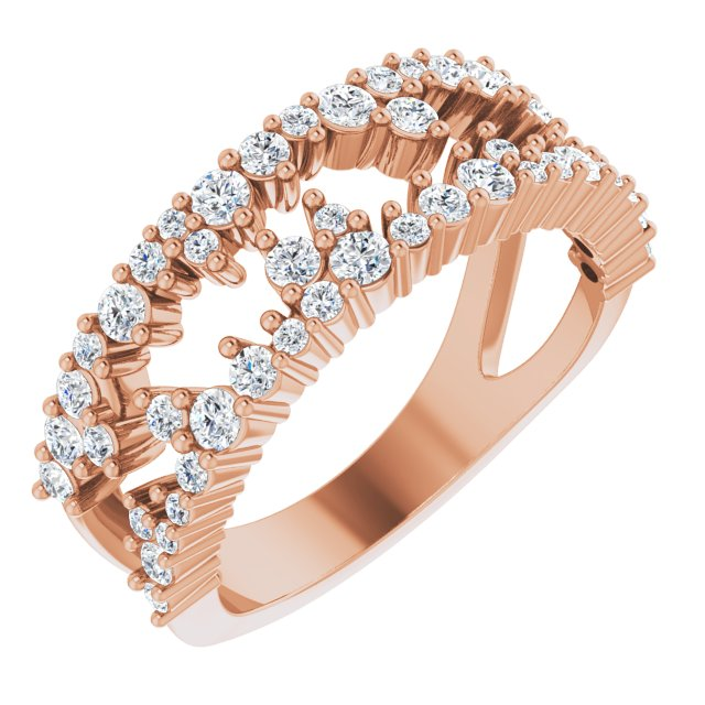 White Diamond Ring in 14 Karat Rose Gold 3/4 Carat Diamond Negative Space Ring