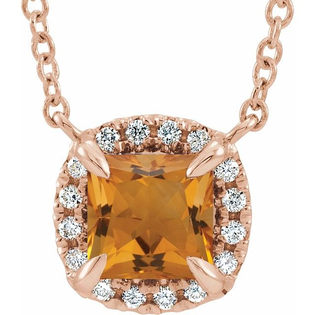 Golden Citrine Necklace in 14 Karat Rose Gold 3.5x3.5 mm Square Citrine & .05 Carat Diamond 16