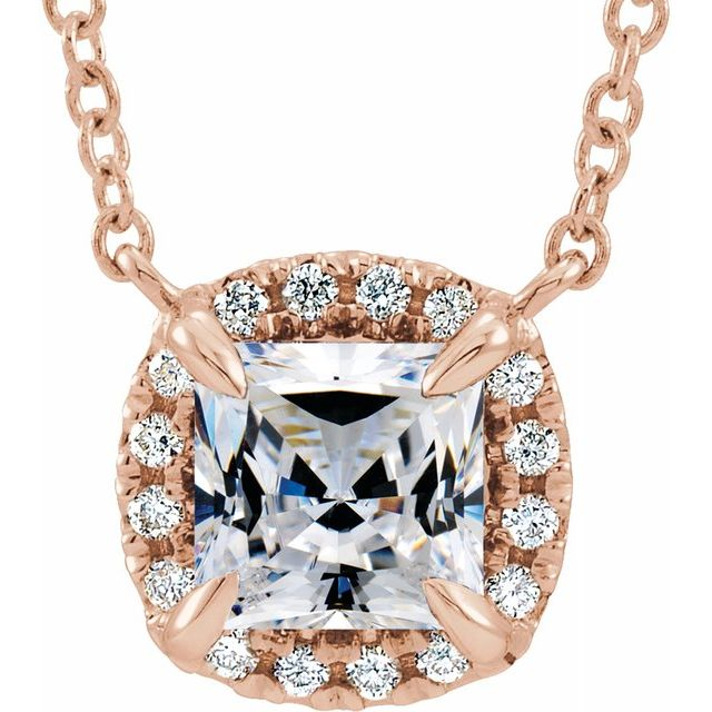 Genuine Sapphire Necklace in 14 Karat Rose Gold 3.5x3.5 mm Square Sapphire & .05 Carat Diamond 18