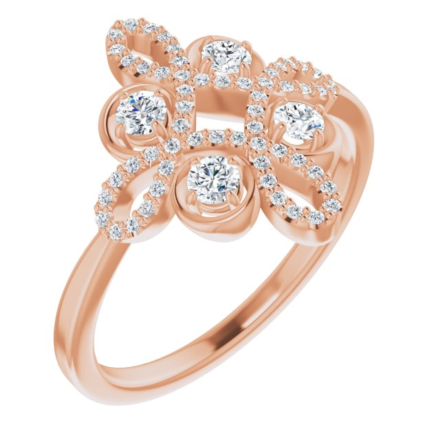 White Diamond Ring in 14 Karat Rose Gold 3/8 Carat Diamond Clover Ring