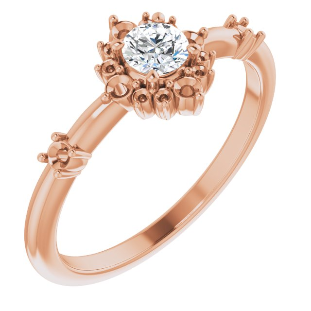 White Diamond Ring in 14 Karat Rose Gold 3/8 Carat Diamond Ring
