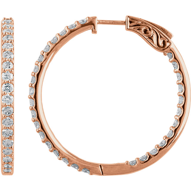 Chic 14 Karat Rose Gold 3 Carat Total Weight Diamond Inside/Outside Hoop Earrings