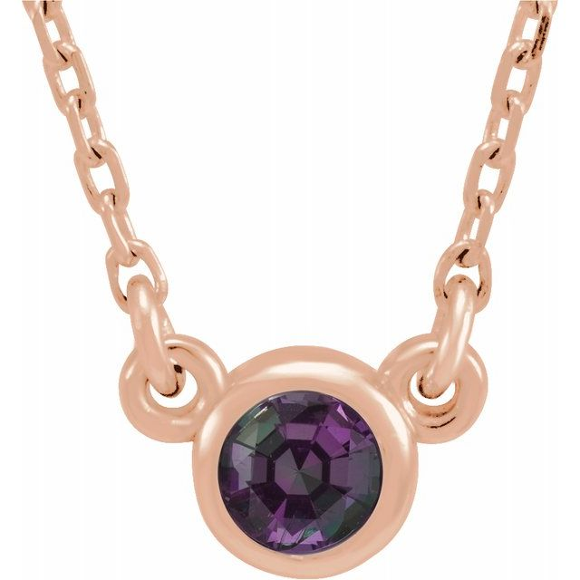 Genuine Alexandrite Pendant in 14 Karat Rose Gold 3 mm Round Alexandrite Bezel-Set Solitaire 16