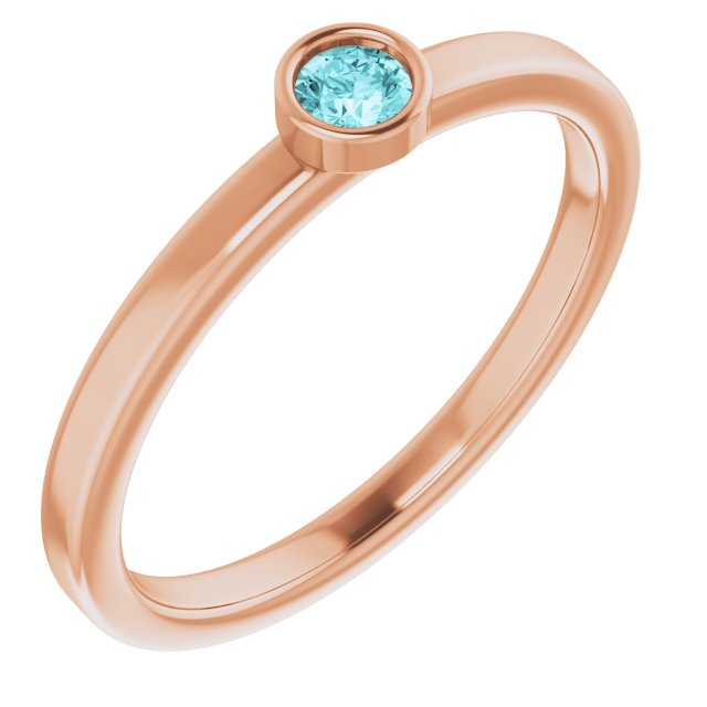 Genuine Zircon Ring in 14 Karat Rose Gold 3 mm Round Genuine Zircon Ring