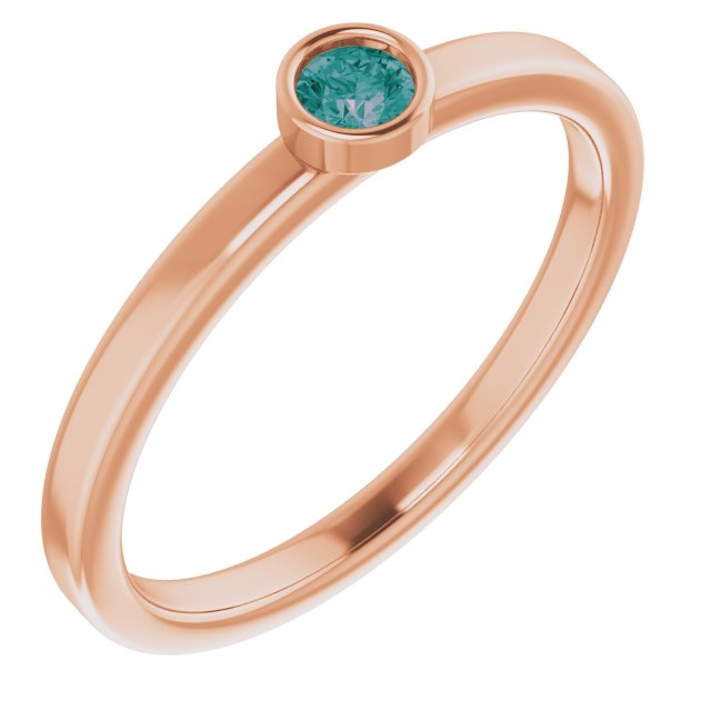 Chatham Created Alexandrite Ring in 14 Karat Rose Gold 3 mm Round Chatham Lab-Created Alexandrite Ring
